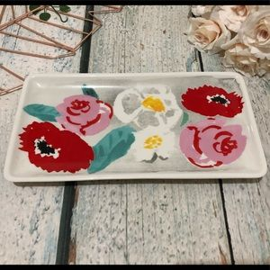 Kate spade flower tray plate pink red floral decor